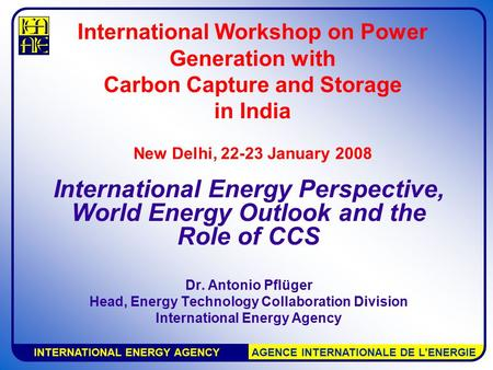 INTERNATIONAL ENERGY AGENCY AGENCE INTERNATIONALE DE L'ENERGIE International Workshop on Power Generation with Carbon Capture and Storage in India New.