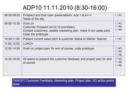 ADP10 11.11.2010 (8:30-16:00) 08:30-09.00Prospect and End User presentations: Ace 1 & A+++ Tasks of the day 1.143 09:00-10:30Work on Customer Prospect.