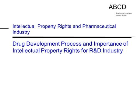 Intellectual Property Rights and Pharmaceutical Industry
