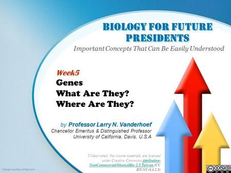 Biology for Future Presidents Important Concepts That Can Be Easily Understood Unless noted, the course materials are licensed under Creative Commons Attribution-