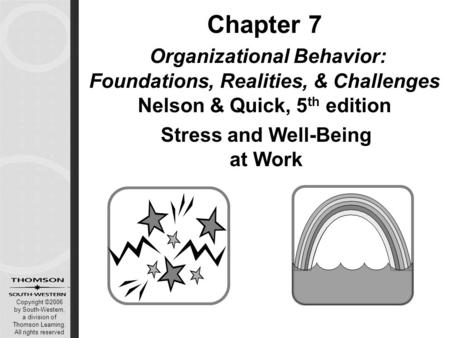 Copyright ©2006 by South-Western, a division of Thomson Learning. All rights reserved Stress and Well-Being at Work Chapter 7 Organizational Behavior: