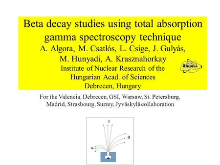 Beta decay studies using total absorption gamma spectroscopy technique A. Algora, M. Csatlós, L. Csige, J. Gulyás, M. Hunyadi, A. Krasznahorkay Institute.