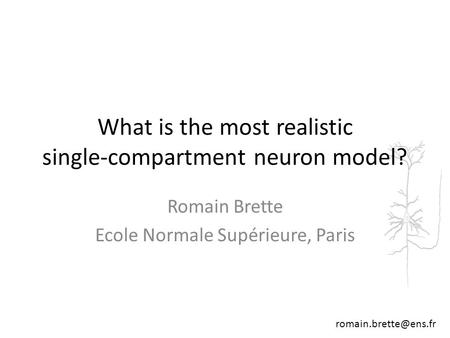 Romain Brette Ecole Normale Supérieure, Paris What is the most realistic single-compartment neuron model?