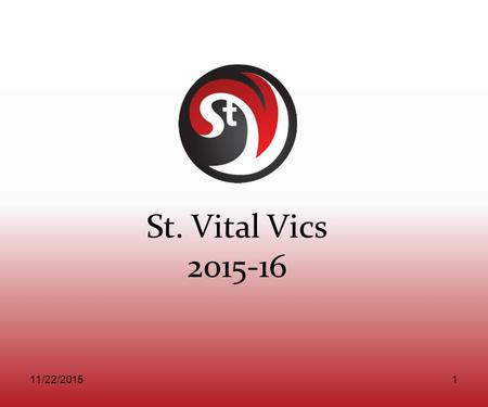 St. Vital Vics 2015-16 11/22/20151. Agenda Introductions Website Content Registration & Apparel Day Budget Practice Ice Concussion Test – Joanne Coach.