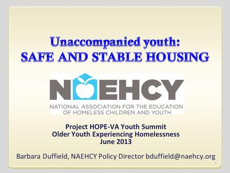 Project HOPE-VA Youth Summit Older Youth Experiencing Homelessness June 2013 Barbara Duffield, NAEHCY Policy Director 1.