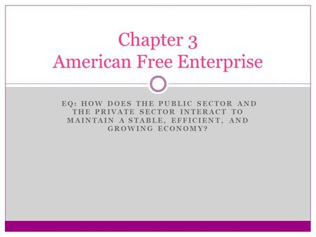 EQ: HOW DOES THE PUBLIC SECTOR AND THE PRIVATE SECTOR INTERACT TO MAINTAIN A STABLE, EFFICIENT, AND GROWING ECONOMY? Chapter 3 American Free Enterprise.