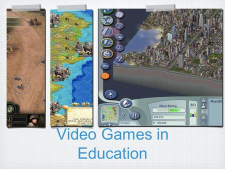 Video Games in Education. Videogames What you will get from this session Discussion of web based games Examine a spectrum of attributes for educators.