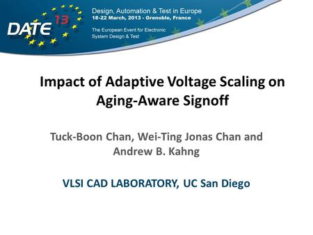 Outline Introduction: BTI Aging and AVS Signoff Problem