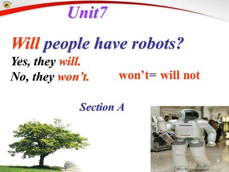 Unit7 Unit7 Will people have robots? Will people have robots? Section A Section A won't= will not Yes, they will. No, they won't.
