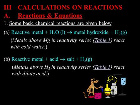 1. Some basic chemical reactions are given below. IIICALCULATIONS ON REACTIONS (a) Reactive metal + H 2 O (l)  metal hydroxide + H 2 (g) (Metals above.