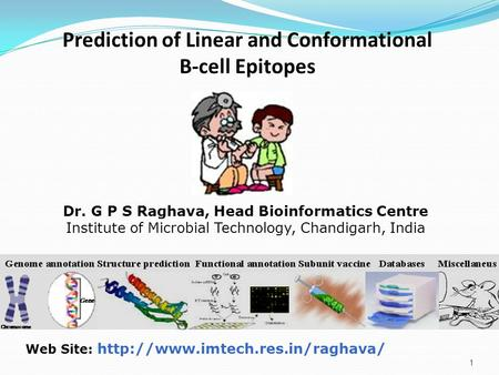 1 Web Site:  Dr. G P S Raghava, Head Bioinformatics Centre Institute of Microbial Technology, Chandigarh, India Prediction.
