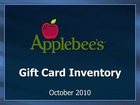Gift Card Inventory October 2010. AAG Gift Card Inventory from Internet Explorer.