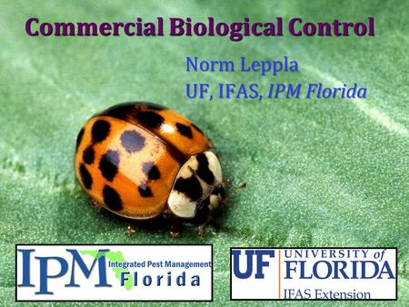 Commercial Biological Control Norm Leppla UF, IFAS, IPM Florida.