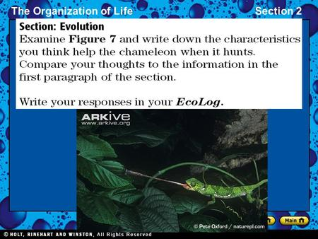 The Organization of LifeSection 2. The Organization of LifeSection 2 Evolution by Natural Selection English naturalist Charles Darwin observed that organisms.