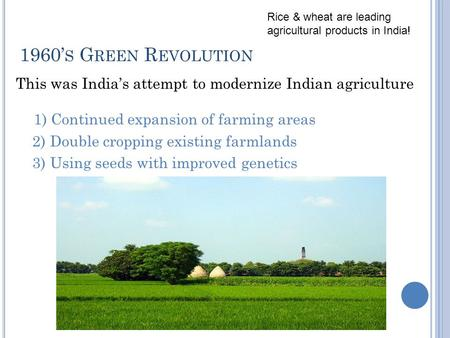 1960' S G REEN R EVOLUTION This was India's attempt to modernize Indian agriculture 1) Continued expansion of farming areas 2) Double cropping existing.