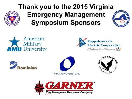 Thank you to the 2015 Virginia Emergency Management Symposium Sponsors.