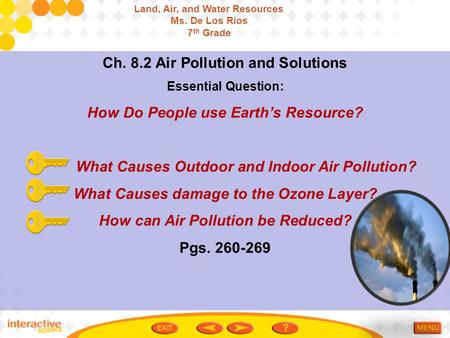 Ch. 8.2 Air Pollution and Solutions Essential Question: How Do People use Earth's Resource? What Causes Outdoor and Indoor Air Pollution? What Causes damage.