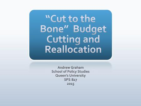 Reallocation in the budget process Strategic Reviews around the world Cutting Tools: How to Cut Risks, consequences, sustainability Practical Considerations.