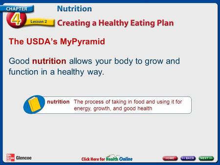 The USDA's MyPyramid Good nutrition allows your body to grow and function in a healthy way. nutrition The process of taking in food and using it for energy,