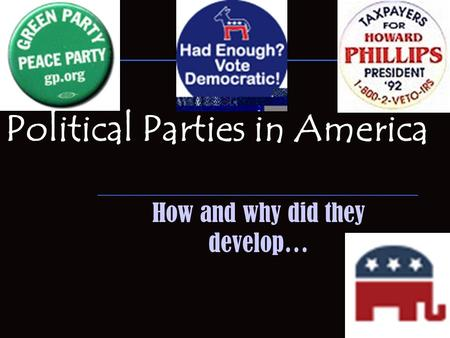 Political Parties in America How and why did they develop…