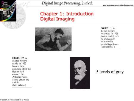 Digital Image Processing, 2nd ed. www.imageprocessingbook.com © 2002 R. C. Gonzalez & R. E. Woods Chapter 1: Introduction Digital Imaging Chapter 1: Introduction.
