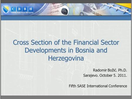 Cross Section of the Financial Sector Developments in Bosnia and Herzegovina Radomir Božić. Ph.D. Sarajevo. October 5. 2011. Fifth SASE International Conference.