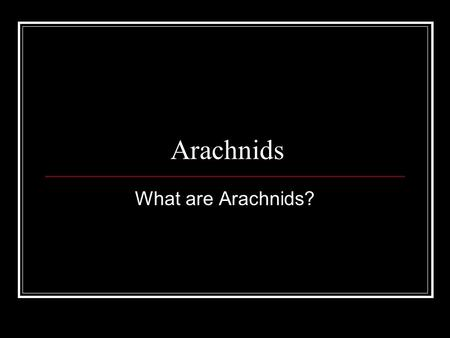 Arachnids What are Arachnids?. Arachnids Arachnids are spiders, scorpions, mites, and ticks. What they all have in common, and what distinguishes them.
