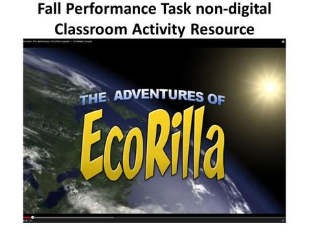 Fall Performance Task non-digital Classroom Activity Resource.