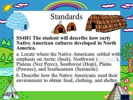 Standards SS4H1 The student will describe how early Native American cultures developed in North America. a. Locate where the Native Americans settled.