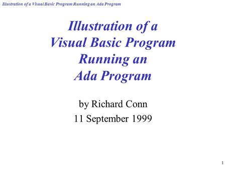 Illustration of a Visual Basic Program Running an Ada Program 1 by Richard Conn 11 September 1999.