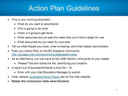 Intel ISEF 2013 – Educator Academy 1 Action Plan Guidelines  This is your working document  What do you want to accomplish  Who is going to do what.