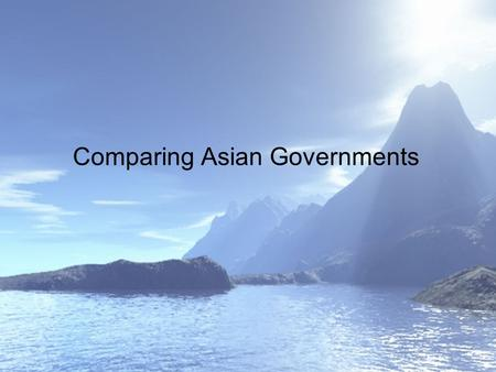 Comparing Asian Governments