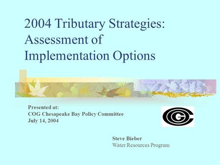 2004 Tributary Strategies: Assessment of Implementation Options Steve Bieber Water Resources Program Presented at: COG Chesapeake Bay Policy Committee.