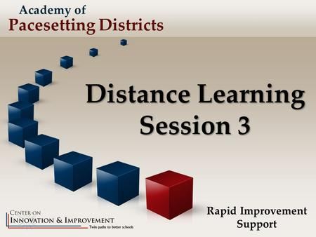 Distance Learning Session 3 Rapid Improvement Support Academy of Pacesetting Districts.
