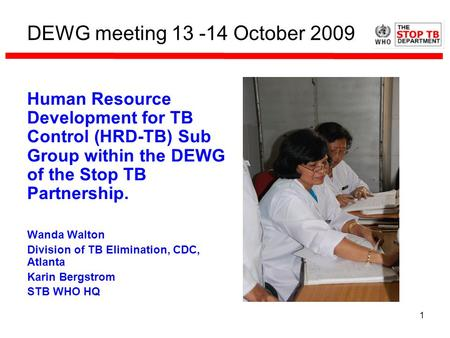 1 DEWG meeting 13 -14 October 2009 Human Resource Development for TB Control (HRD-TB) Sub Group within the DEWG of the Stop TB Partnership. Wanda Walton.