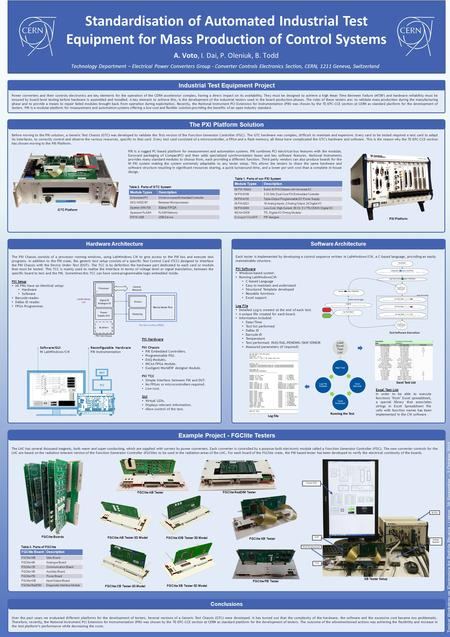 Hardware Architecture A. Voto, I. Dai, P. Oleniuk, B. Todd Standardisation of Automated Industrial Test Equipment for Mass Production of Control Systems.