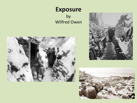 Exposure by Wilfred Owen. Possible interpretations of 'Exposure' 1.Exposure describes the extreme weather conditions which men were subjected to in the.