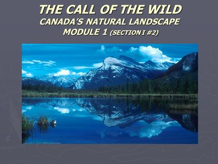 THE CALL OF THE WILD CANADA'S NATURAL LANDSCAPE MODULE 1 (SECTION I #2)