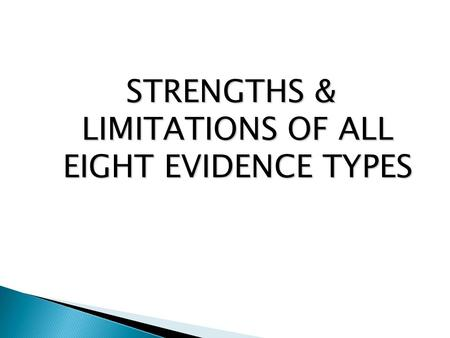 STRENGTHS & LIMITATIONS OF ALL EIGHT EVIDENCE TYPES.