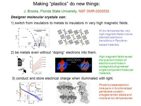 "J. Brooks, Florida State University, NSF DMR-0203532 Making ""plastics"" do new things: Designer molecular crystals can: 2) be metals even without ""doping"""