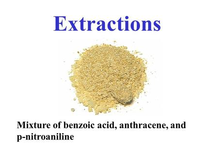 Mixture of benzoic acid, anthracene, and p-nitroaniline Extractions.