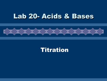 Titration Lab 20- Acids & Bases. A. Neutralization  Chemical reaction between an acid and a base.  Products are a salt (ionic compound) and water.