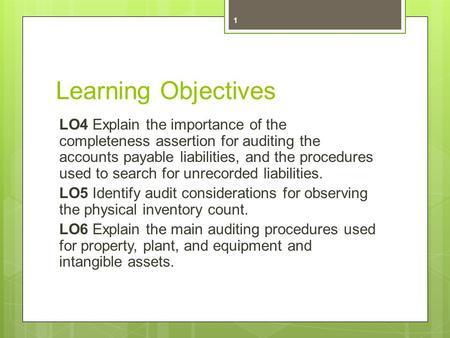 Learning Objectives LO4 Explain the importance of the completeness assertion for auditing the accounts payable liabilities, and the procedures used to.