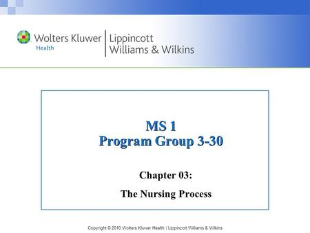 Copyright © 2010 Wolters Kluwer Health | Lippincott Williams & Wilkins MS 1 Program Group 3-30 Chapter 03: The Nursing Process.