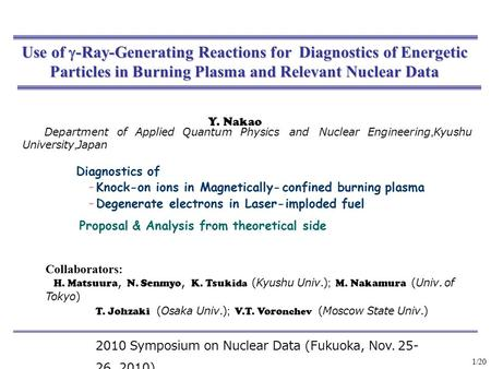 Use of  -Ray-Generating Reactions for Diagnostics of Energetic Particles in Burning Plasma and Relevant Nuclear Data Y. Nakao Department of Applied Quantum.