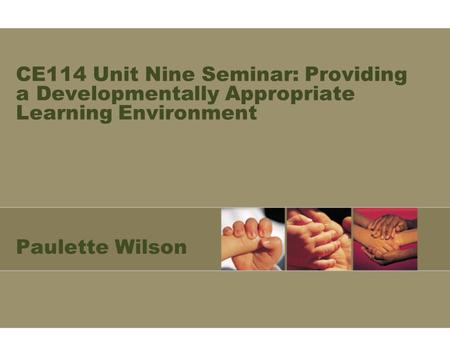 CE114 Unit Nine Seminar: Providing a Developmentally Appropriate Learning Environment Paulette Wilson.