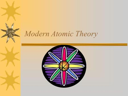 Modern Atomic Theory. Bohr Model (1913)  All materials are made up of tiny solid particles called atoms.  At the center of this atom is a dense positive.