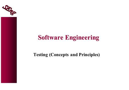 Software Engineering Testing (Concepts and Principles)