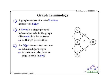 10 Copyright © William C. Cheng Data Structures - CSCI 102 Graph Terminology A graph consists of a set of Vertices and a set of Edges C A B D a c b d e.