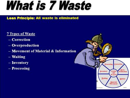 7 Types of Waste –C –Correction –O –Overproduction –M –Movement of Material & Information –W –Waiting –I –Inventory –P –Processing Lean Principle: Lean.